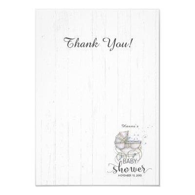 White Wood & Carriage Boy Baby Shower Thank You Invitations