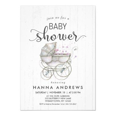 White Wood & Carriage Girl Baby Shower Invitation
