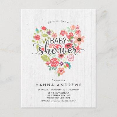 White Wood & Heart Girl Baby Shower Invitation