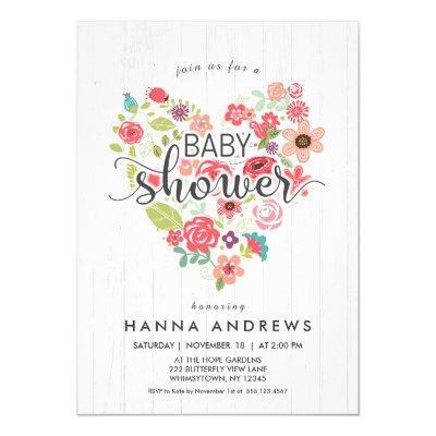 White Wood & Heart Girl Baby Shower Invitations