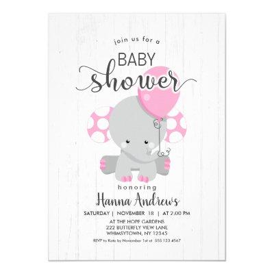 White Wood Pink Elephant Baby Shower Invitations