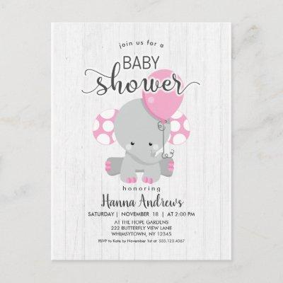 White Wood Pink Elephant Baby Shower Invitations