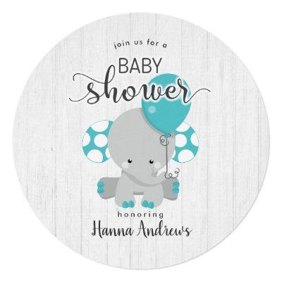 White Wood Teal Elephant Baby Shower Invitations