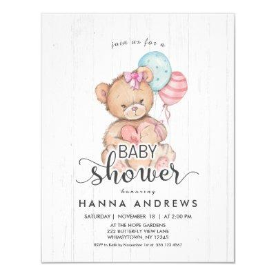 White Wood Teddy Bear Girl Baby Shower Invitations