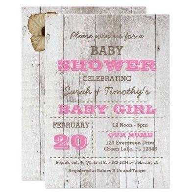 Whitewash Pink Baby Shower Invitations