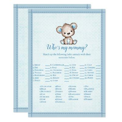 Who's My Mommy Cute Brown Bear Baby Game Card