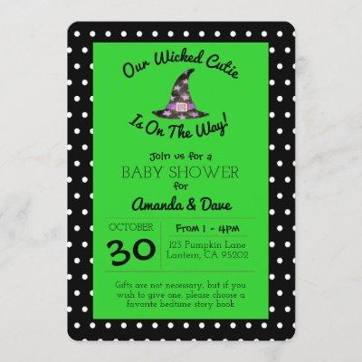 Wicked Cutie Green and Black Polka Dot Baby Shower Invitation