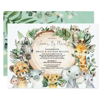 Wild Animals Safari Greenery Baby Shower By Mail Invitation