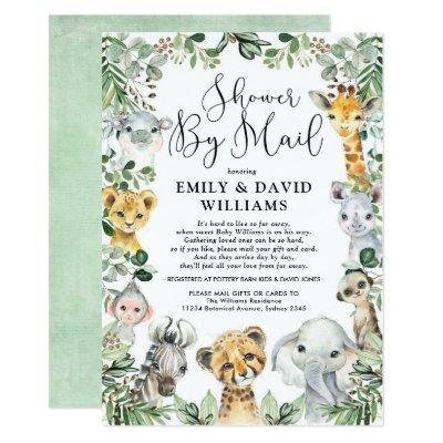 Wild Jungle Greenery Animals Baby Shower By Mail Invitation