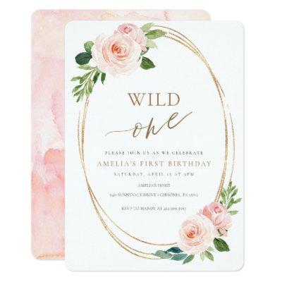 Wild One Floral First Birthday Invitation Girl