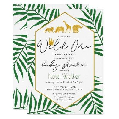 Wild One Jungle Safari Baby Shower Invitation