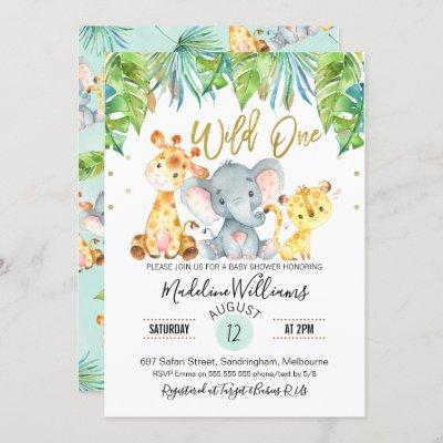 Wild One Jungle Safari Baby Shower invitation