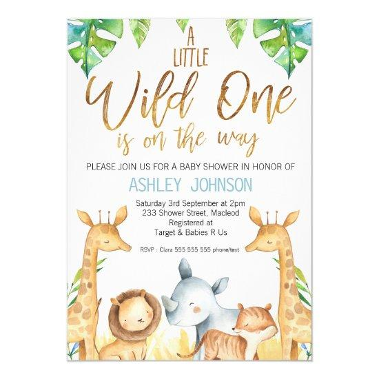 Wild One Safari Animals Baby Shower Invitation