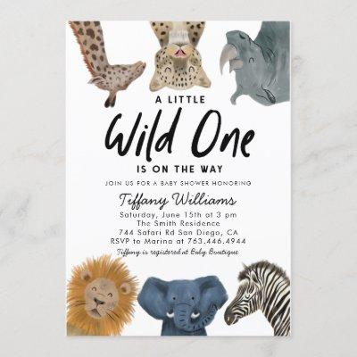 Wild One Safari Animals Gender Neutral Baby Shower Invitation