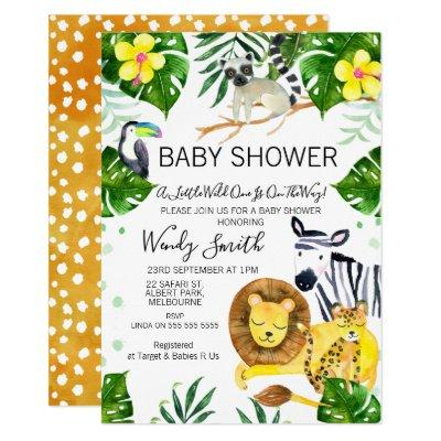 Wild One Safari jungle Animals Baby Shower Invitation