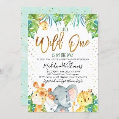 Wild One Safari Jungle Baby Shower invitation