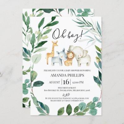 Wild Safari Animals Wreath Baby Shower Invitation