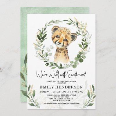 Wild With Excitement Greenery Leopard Baby Shower Invitation