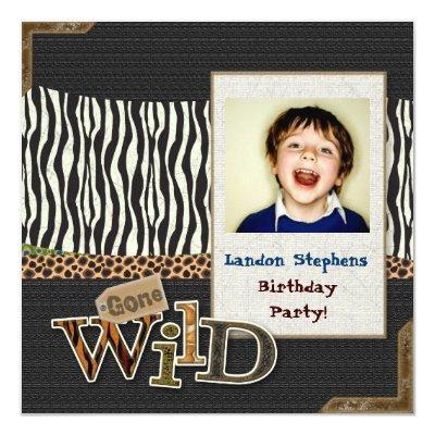 Wild Zebra Safari Zoo Birthday Photo Invitation