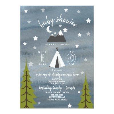 Wilderness Stars Neutral Baby Shower Invitations