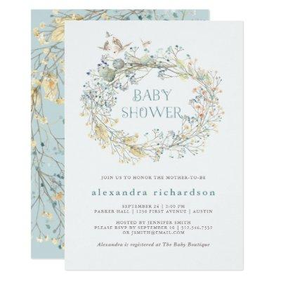 Wildflower Wreath with Butterfly | Baby Shower Invitations