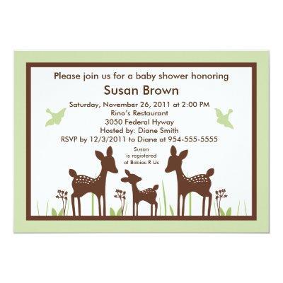Willow Deer Green Baby Shower Invitations