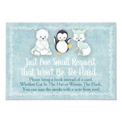 Winter Animals Baby Shower Bring A Book Card