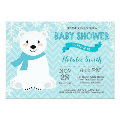 Winter Aqua Polar Bear Baby Shower Invitation