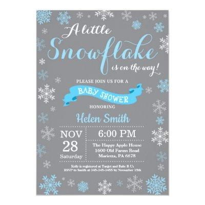 Winter Baby Shower Blue White and Gray Snowflake Invitation