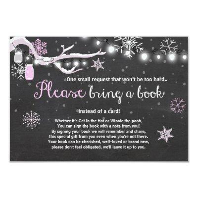 Winter Baby Shower Bring a book Pink Girl Invitations