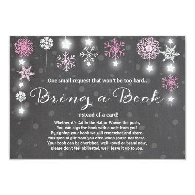 Winter Baby Shower Bring a book Pink Girl Snow Invitations