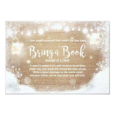 Winter Baby Shower Bring a book Snow Rustic wood Invitations