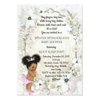 Winter Baby Shower Girl, etnic, Winter Wonderland Invitation