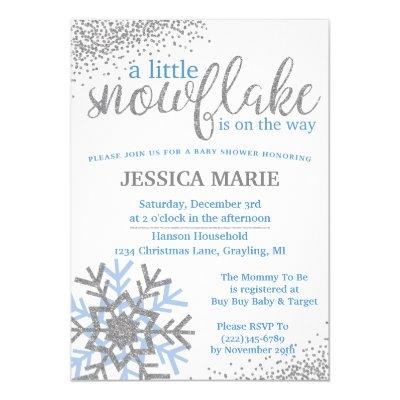 Winter Baby Shower Invitations - Blue Snowflake