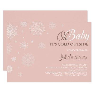 Winter Baby Shower Invitation - Blush Pink