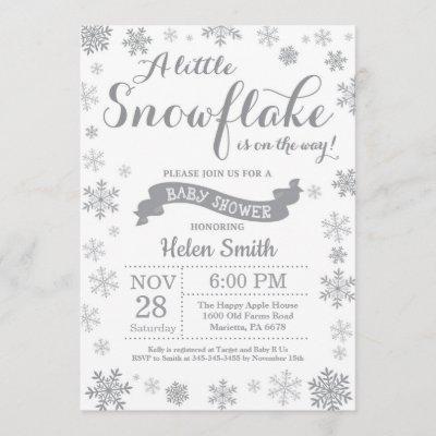 Winter Baby Shower Invitation Gray Snowflake
