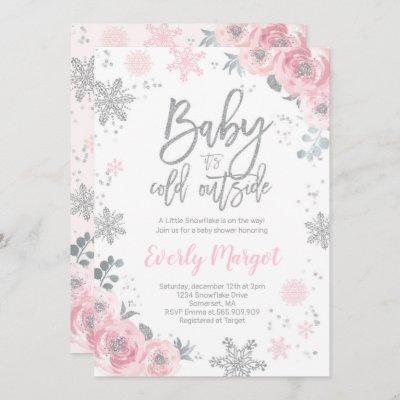 Winter Baby Shower Invitation Pink Silver Glitter