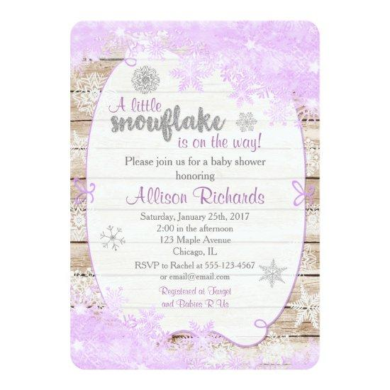 Winter purple and silver baby shower invitations winter purple and silver filmwisefo