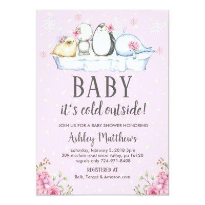 winter baby shower invite, winter animals arctic Invitations