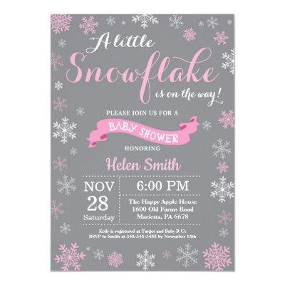 Winter Baby Shower Pink White and Gray Snowflake Invitation