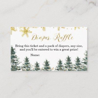Winter Christmas Tree Baby Shower Diaper Raffle Enclosure Card