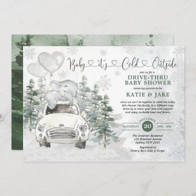 Winter Elephant Snowy Forest Drive By Baby Shower Invitation