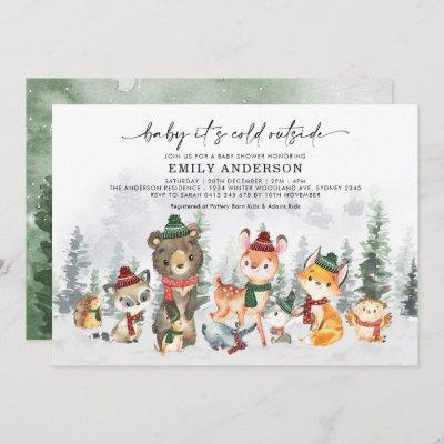 Winter Forest Woodland Animals Neutral Baby Shower Invitation