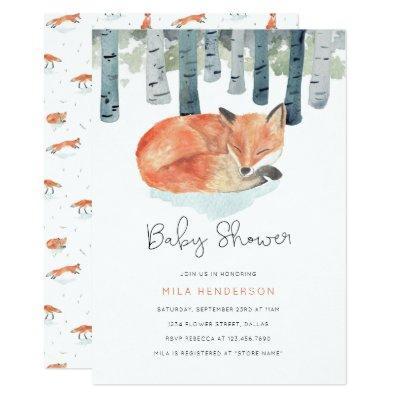 Winter Fox Baby Shower Invitations