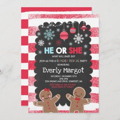 Winter Gender Reveal Party Holiday Gender Reveal Invitation
