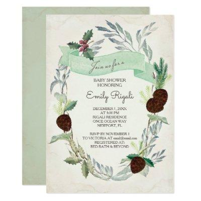Winter Greenery Baby Shower Invitations