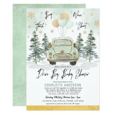 Winter Greenery Gold Drive By Baby Shower Parade Invitation