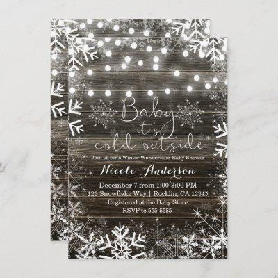Winter Lights & Snowflakes Rustic Baby Shower Invitation