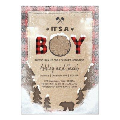 Winter Lumberjack Baby Shower Rustic boy Plaid Invitations