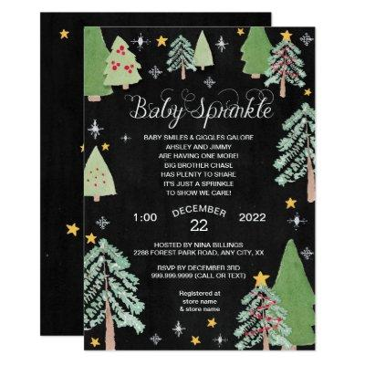 Winter Pine Tree Baby Sprinkle Chalkboard Invitations